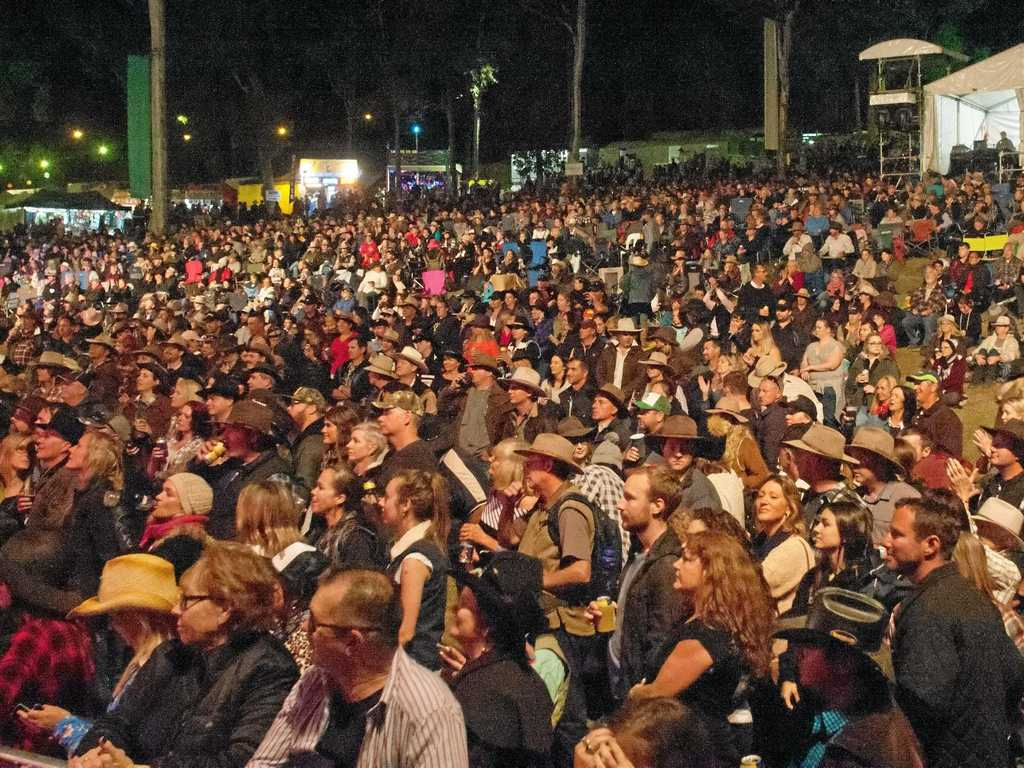 A huge crowd gathered on the hill at the Muster Main Stage on Saturday night.