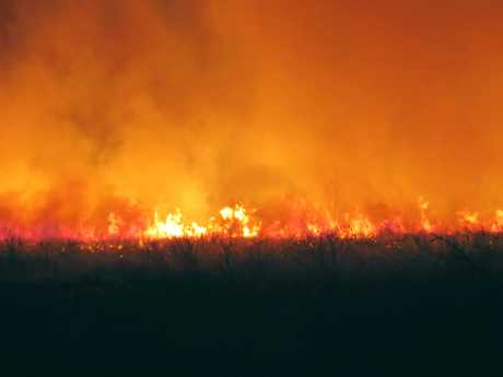 A cane fire near Gargett.