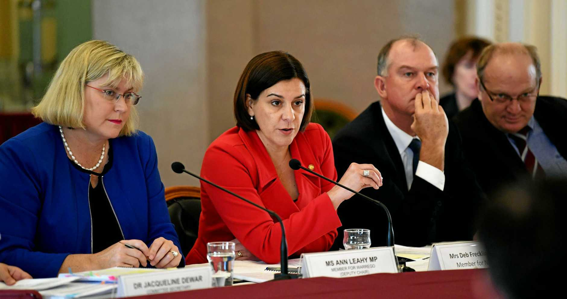 Deputy Opposition leader Deb Frecklington (centre) accused State Development Minister Anthony Lynham of under-funding councils in LNP seats.