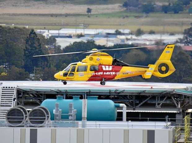 The Westpac Lifesaver Rescue Helicopter was deployed to The Channon after a man was injured in a grass fire.