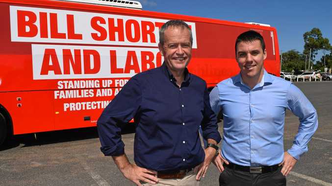 Federal Opposition Leader Bill Shorten with Labor candidate Zac Beers at the Emerald Saleyards,