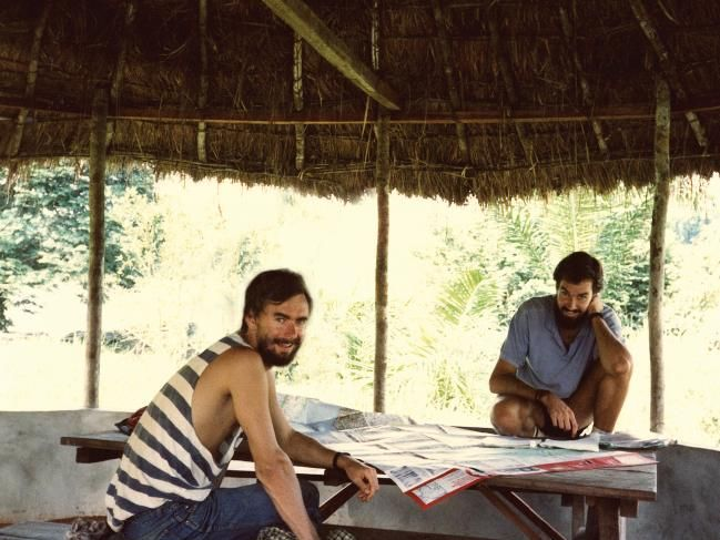 Geoff Manchester, left, and Darrell Wade plotting world domination in the early days. Picture: SuppliedSource:Supplied
