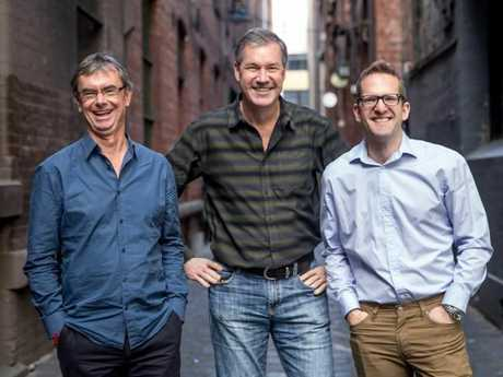 Geoff Manchester and Darrell Wade with Intrepid Group chief executive James Thornton (L-R).Source:Supplied