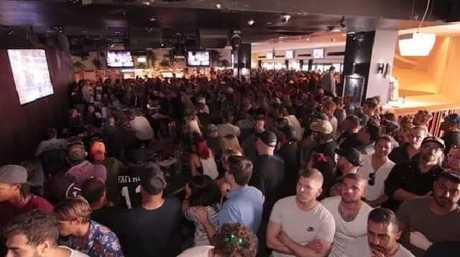 A large crowd gathered at the Surfers Paradise Beer Garden to watch the Floyd Mayweather vs. Conor McGregor fight yesterday.