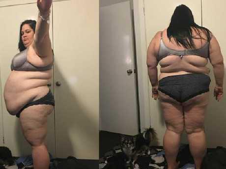 At her heaviest, Elle couldn't reach to tie her own shoes and had to have others help her stand from a seated position. Photo: SuppliedSource:Facebook