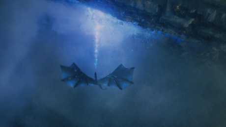 The Night King rides a dragon in a scene from the season 7 finale of Game of Thrones.