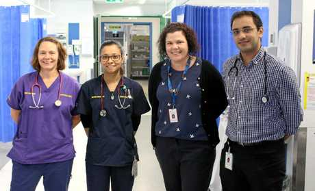 NEW INITIATIVE: The SEAT Team members at Mackay Base Hospital's Emergency Department: Acting Clinical Nurse Liz McKendry, Registered Nurse Ojaswi Sainju, Administration Officer Shannon Brooke and Dr Mohamad Alshurafa.