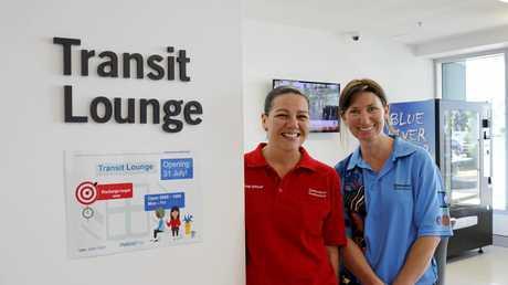Mackay Base Hospital Transit Lounge staff members operational officer Angela Tindall and registered nurse Amber Moyle.
