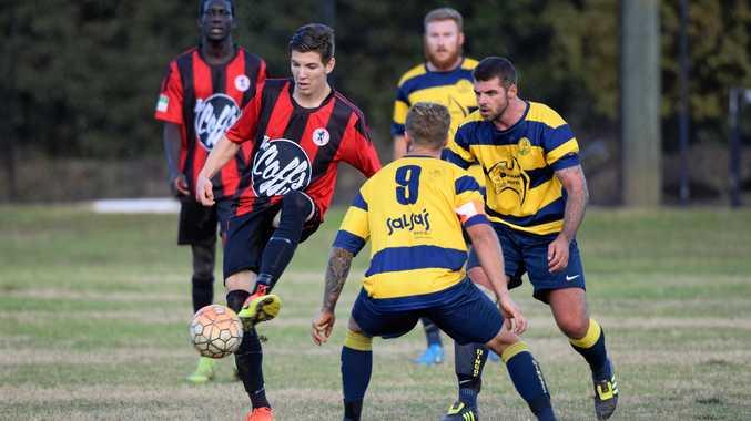 Nick Mallett in control for Coffs United against Orara Valley.