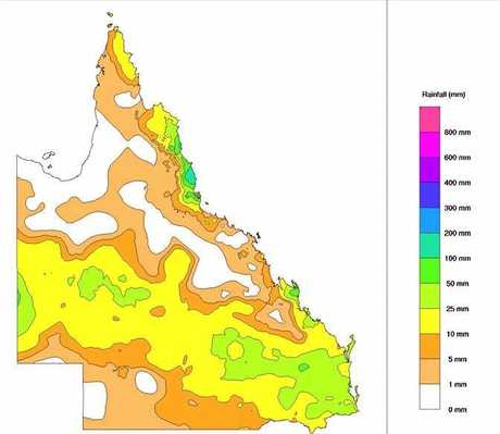 Bureau of Meteorology information shows the rainfall totals for Queensland over the past month.