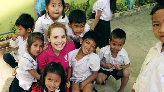 LIFE-CHANGING: CQU education student Sarah Reiman at a New Colombo Plan-funded study tour to Cambodia last year.