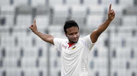 Bangladesh's Sakib Al Hasan celebrates the dismissal of Australia's Matt Renshaw.