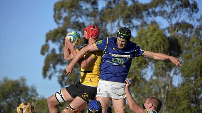 Goondiwindi flanker Hugh Oliver wins line-out possession for the Emus in their Risdon Cup semi-final match against Dalby earlier this month at John Ritter Oval.