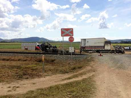 The wreckage of the truck after a crash with a train north of Mackay.