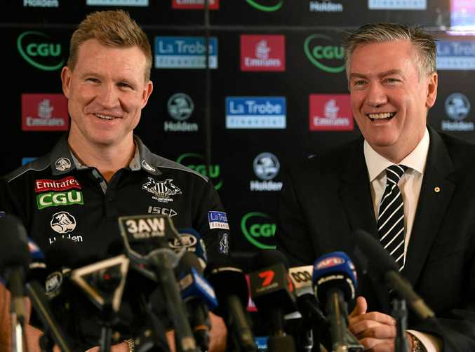 Collingwood coach Nathan Buckley (left) and club president Eddie McGuire.