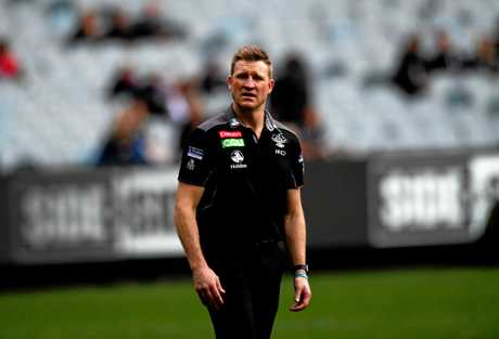 Magpies head coach Nathan Buckley before his side's clash with the Demons.