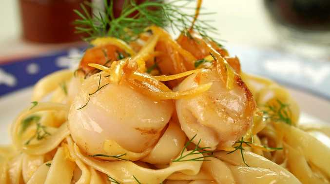 GOURMET DELIGHTS: Try Jason's zucchini and scallop fettuccini at home.