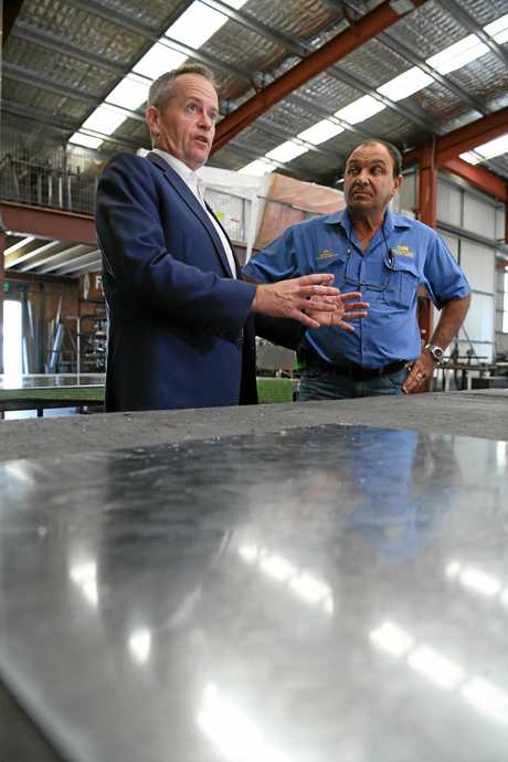Oakwood Sheet Metal Works' Len Lemura with Federal Opposition Leader Bill Shorten.