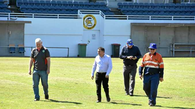 BRAINS TRUST: Gladstone NRL match bid team (from left): NRL general manager of football, venues and broadcaster relations Shaun Wendt, Gladstone Region mayor Matt Burnett, Gladstone Rugby League operations manager Peter White and GRL president Richard Duff at Marley Brown Oval.