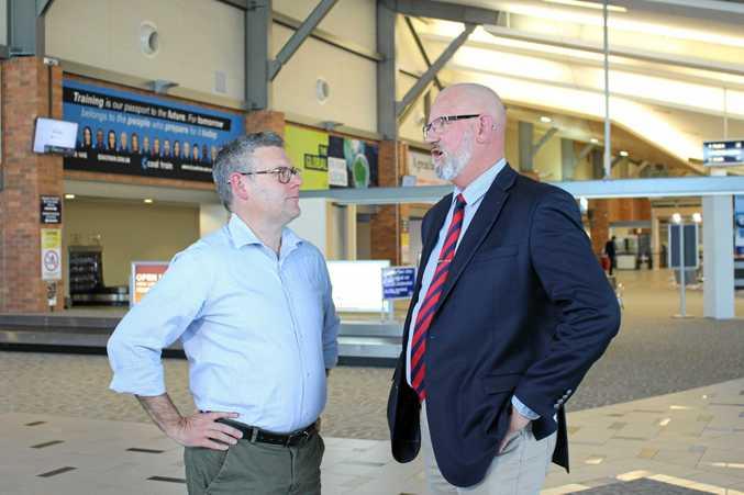 ALP Senator Murray Watt and Rockhampton MP Bill Byrne at the Rockhampton Airport.