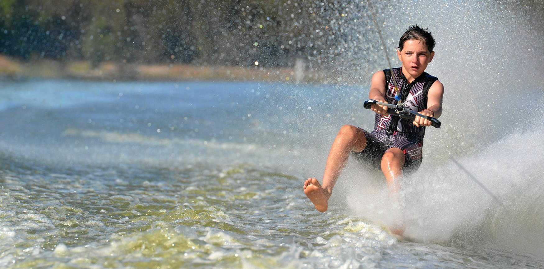 TALENT: Gladstone and District Sports Foundation Trust recipient, Ben Press, shows his style at the 2017 National Barefoot Water-skiing Championships.