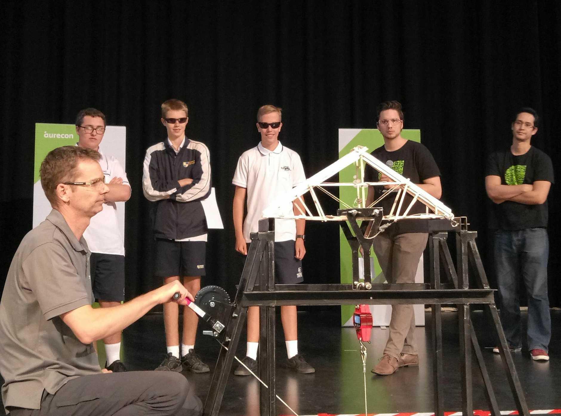 Burnside High School bridge-building.