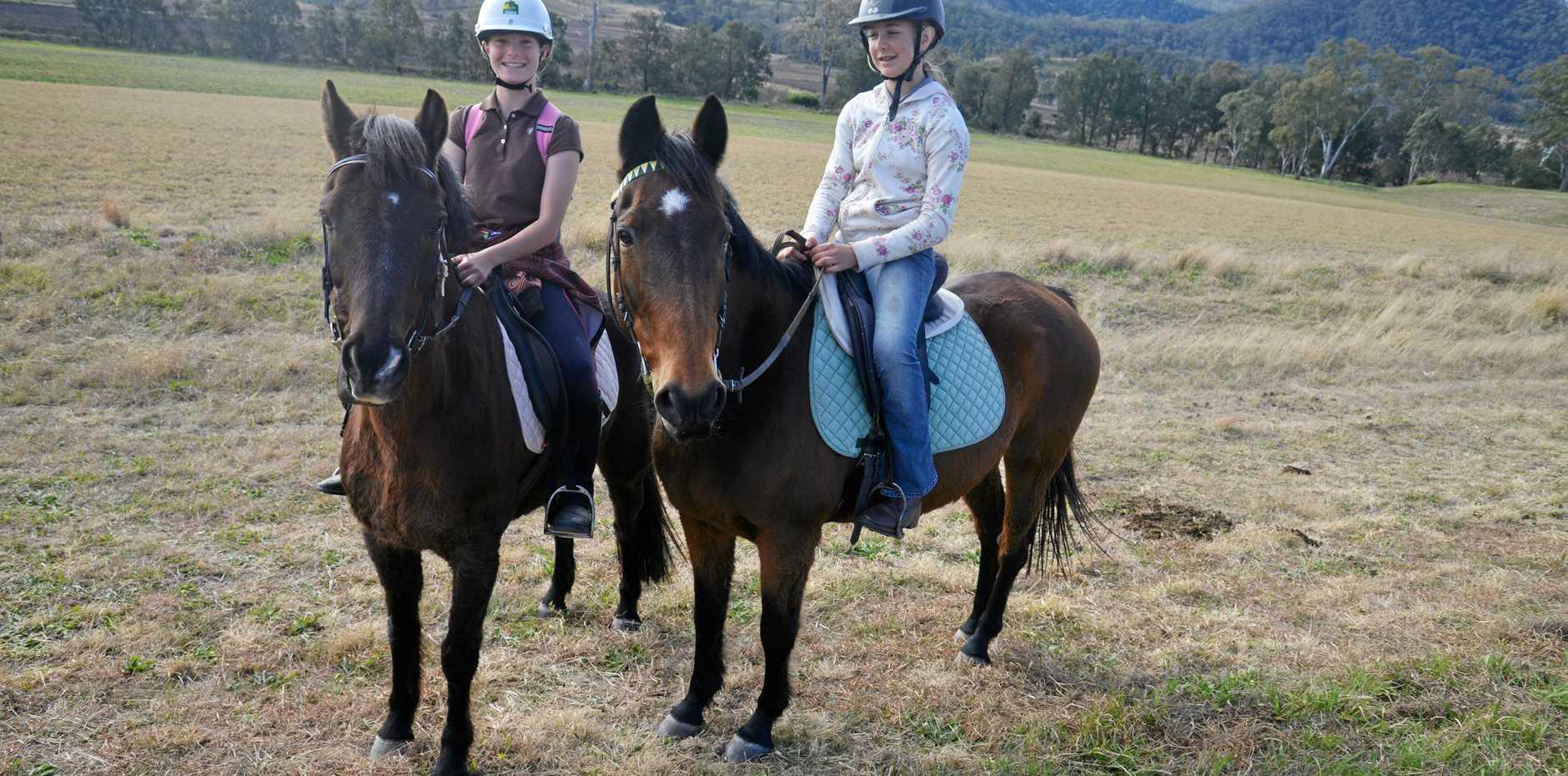 Warwick riders Helena Faa and Indigo Douglas at the end of the Killarney Waddle, Saddle and Pedal trek.
