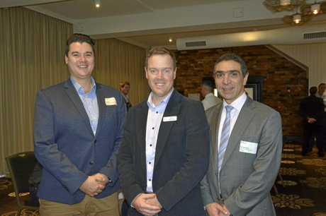 BIG ISSUES: Networking at the lunch are (from left) Alphacrane Intercultural Specialists director Craig Shim, FLA general manager Bruce McConnel and Western Union Business Solutions corporate hedging manager Roy Agostino.