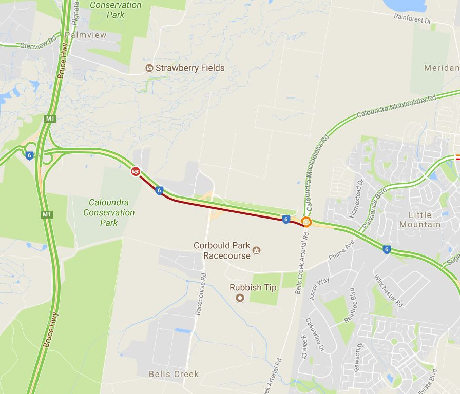 Traffic at the scene of the crash on Caloundra Rd.
