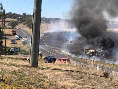 A truck is on fire after a collision with a car north-west of Toowoomba. Contributed WENDY ANDREWS