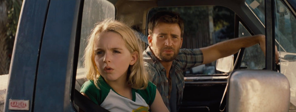 Mckenna Grace and Chris Evans in a scene from the movie Gifted.