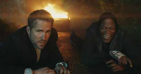 Ryan Reynolds and Samuel L Jackson in a scene from The Hitman's Bodyguard.