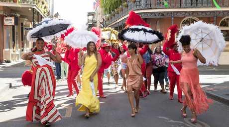 Queen Latifah, Regina Hall, Jada Pinkett Smith and Tiffany Haddish in a scene from Girls Trip.