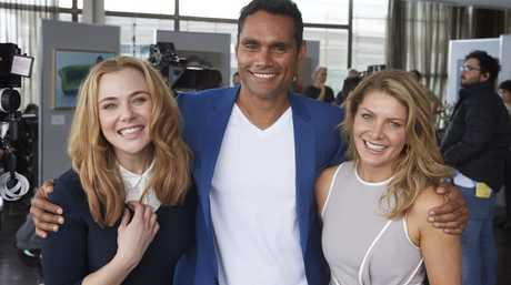 Jessica Marais, Rob Collins and Natalie Bassingthwaighte pictured on the set of The Wrong Girl.