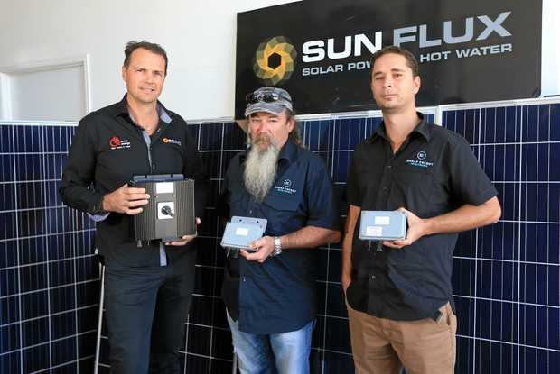 SHARP SAVING: Pottsville men Geoff Hourigan and Troy Norris from Sharp Energy and Campbell Medcalf from Array Energy (left) with their energy-saving invention.
