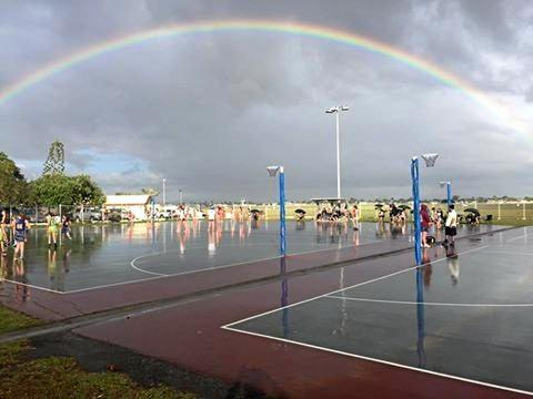 A rainbow to start the fund raising day at Mackay Netball.