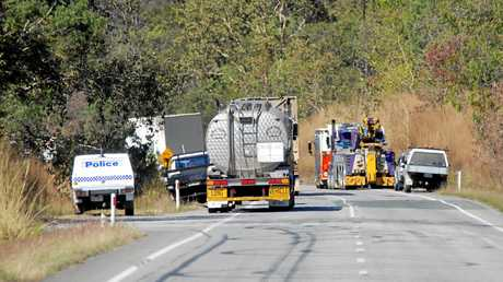 Scene of Eton truck crash bottom of the Eton Range- 3 trucks involved.  Photo Tony Martin / Daily Mercury