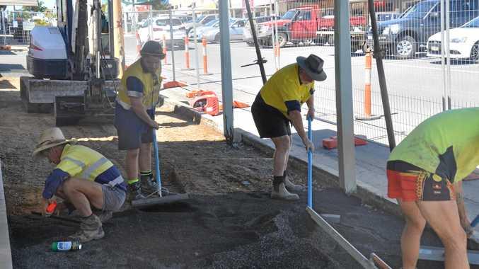 WORKS UNDER WAY: DJ's Steel crews undergoing footpath replacement on Newton St in Monto.