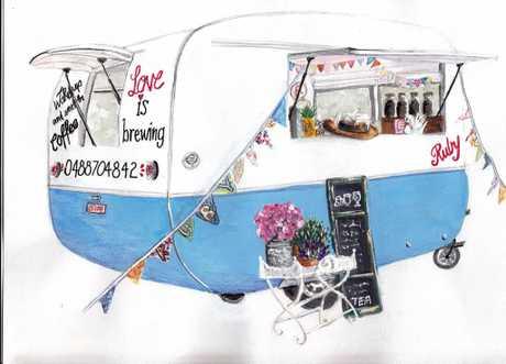 Local coffee van Ruby Caravan captured in a commission by Belinda Reid.
