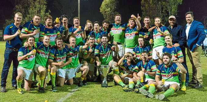 WELL-DESERVED: Dawson Valley Drovers with the Capricornia 2017 Rugby Union Premiership Trophy after defeating Rockhampton Brothers 20-17.