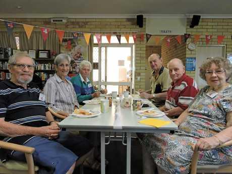 Treated to a pancake breakfast to celebrate the village's name change were (clockwise from left) Dietmar Gogolka, Dorothy Gogolka, Iris Ridge, Don Ridge, Merv Ward and Audrey Ward.