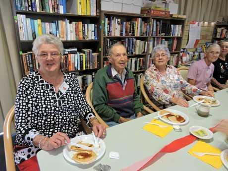 Bolton Clarke Chelsea residents ( from left) Colleen Mooney, Dudley Mason, Jan Davidson, Joan Melksham and Joan Nowitzke enjoy their pancake breakfast.