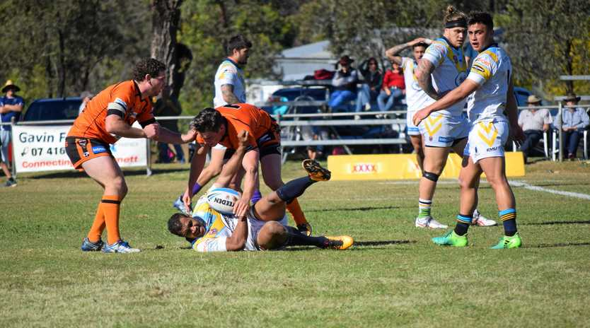 DEFENCE: Brodie Croft makes a tackle for Easts.