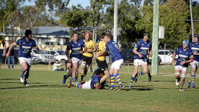Goondiwindi fullback George Stacey is sandwiched in the Dalby defence of Sepo Tuitoya and Martin Thomspon (nine) during their Risdon Cup qualifying semi-final at John Ritter Oval two weeks ago.