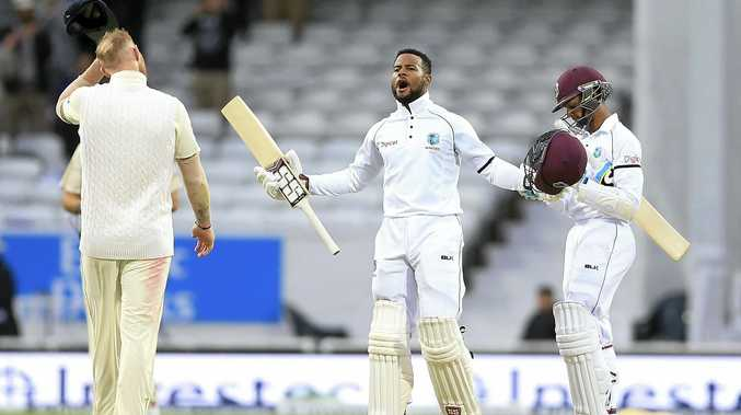 West Indies Shai Hope celebrates after scoring the winning runs