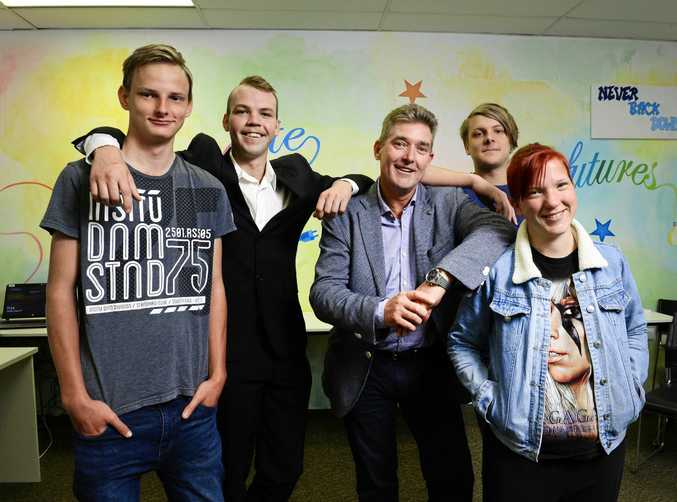 WORK FOCUS: Shark Tank entrepreneur Dr Glen Richards shares some valuable tips to young Yourtown job seekers from left, Cameron Richardson, Tom Neumann, Cody Johns and Bernadette Schulz.