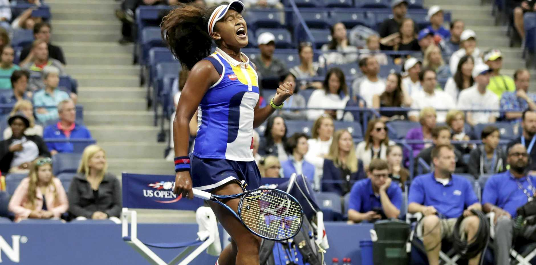 Naomi Osaka reacts after scoring a point against Angelique Kerber
