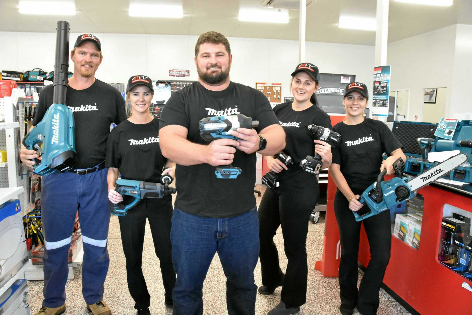 CNW's storeman Michael Hall, Stacey Fothergill, manager Adam McFadzen, Shayna Roberts and Letitia Delioglanis are preparing for the arrival of Makita's Tool Truck on Friday.