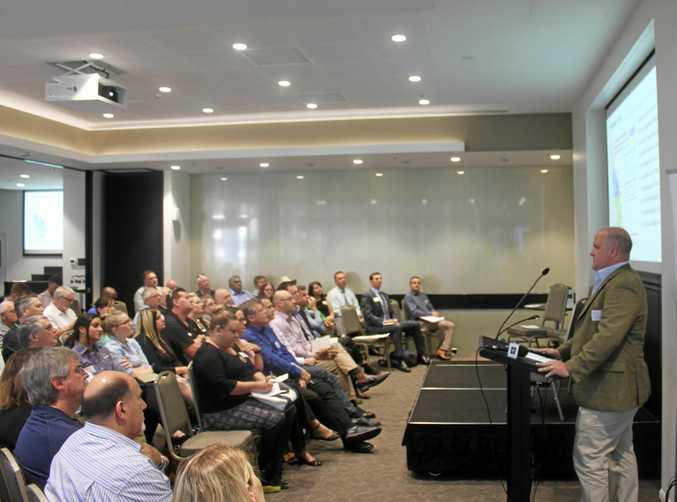 ADANI TALK: CQ's business and industry leaders crowded into the Empire Hotel to hear Adani Australia Regional Content Manager Ben Hughes speak.