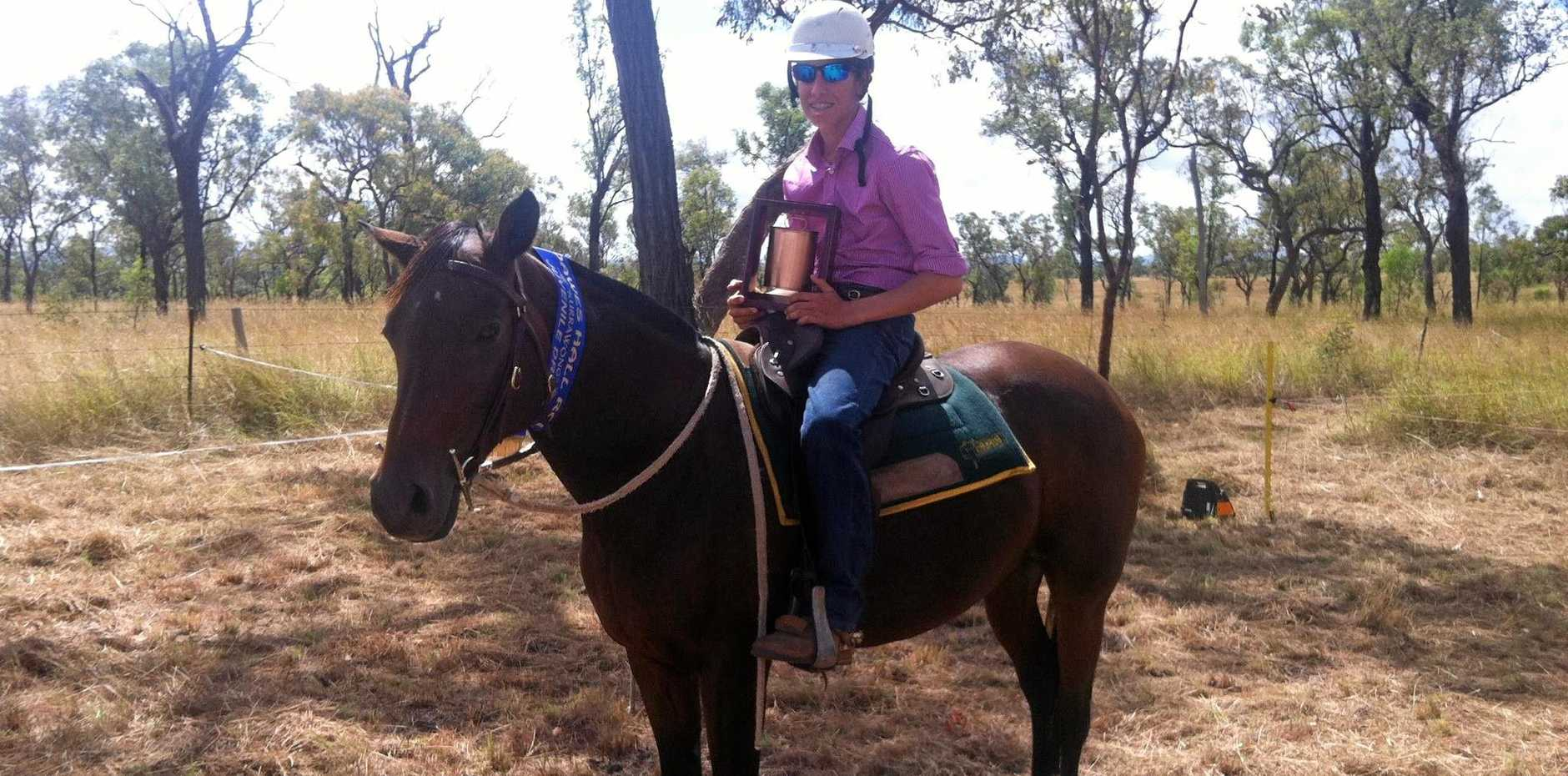 Michael Lacey was left unable to walk or talk dure to serious injuries after a campdrafting accident at Condamine.